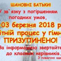 Призупинення навчального процесу 2 та 3 березня